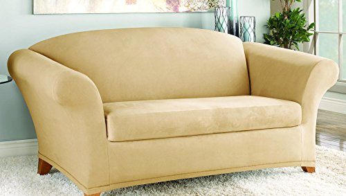 Polyester Suede Slipcover (Sure Fit Stretch Suede - Loveseat Slipcover  - Camel (SF36448))