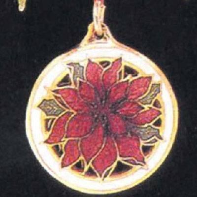 Cloisonne Poinsettia 1990 Miniature Hallmark Ornament QXM5533
