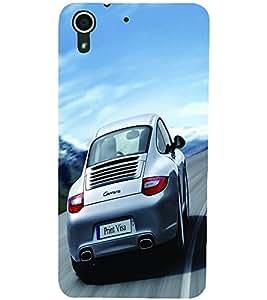 PRINTSWAG SILVER CAR Designer Back Cover Case for HTC DESIRE 728