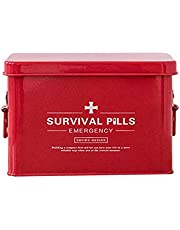 Housewares First Aid Box, Vintage Style Medicine Storage Organiser (Color : Red, Size : L)