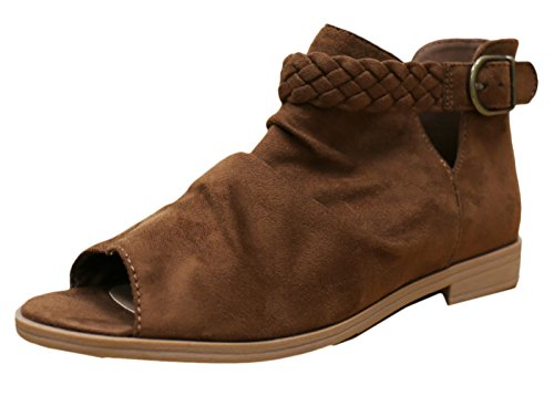 Soda Women's Brinley Braided Buckle Slouchy Peep Toe Bootie