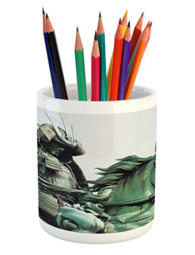 Lunarable Retro Pencil Pen Holder, Samurai Worrior Riding Horse City Park in Tokyo History Travel, Printed Ceramic Pencil Pen Holder for Desk Office Accessory, Mint Green Black]()