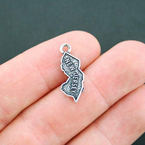 - 4 New Jersey Charms Antique Silver Tone New Jersey State 2 Sided Jewelry Making Supply Pendant Bracelet DIY Crafting by Wholesale Charms