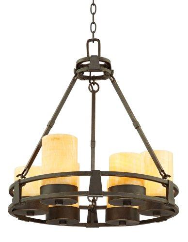 Sunset Onyx Stone 6-Light Faux Candle Chandelier For Sale