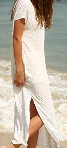 Etnico Maxi Stile Stampato Corta Cromoncent Spiaggia Bianchi Donne Fessura Manica Insabbiamento Vestito qAwvnpxFa
