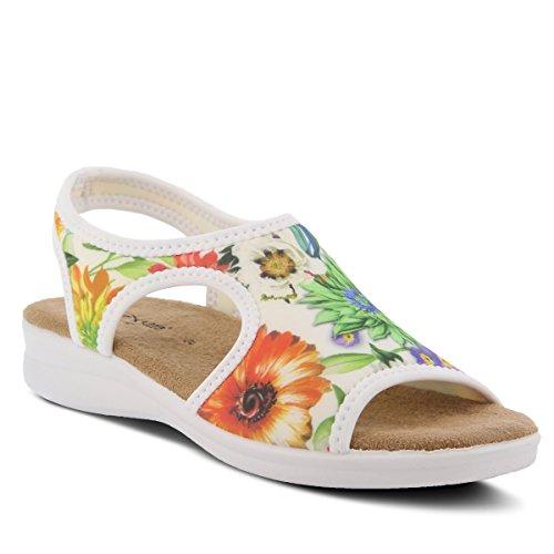 Spring Step Flexus Women's Nyaman-Bouquet Lycra Slingback Sandal White Multi