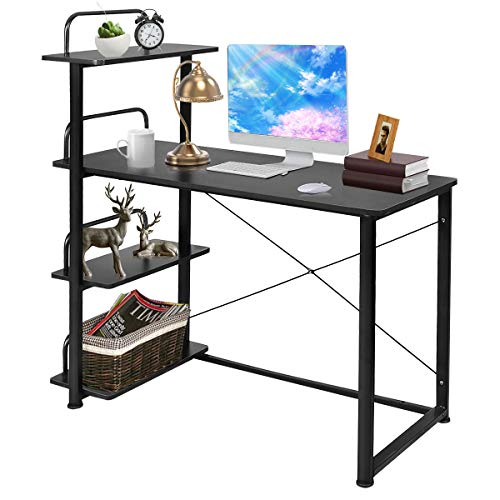Tangkula Computer Desk Modern Home Office Workstation with 4 Tier Bookshelves Wood Compact Laptop Writing Table Business Desk with Shelves, Black ()