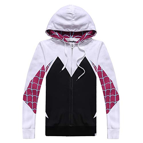 Leon's shop 3D Zip Hoodie,Digital Printing Couple with Pocket Baseball Uniform Spider Gwen, 2XL]()
