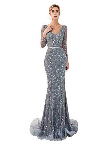 MAZORT Women's Long Sleeve Bling Crystals Beading V-Neck Mermaid Prom Dress Grey US 10