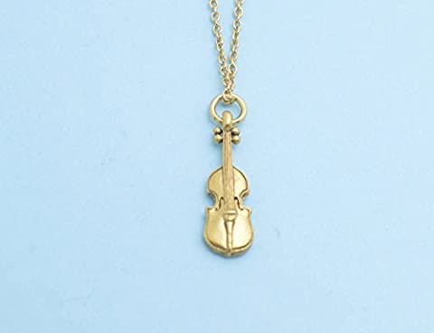 Little girl's violin necklace in gold plated pewter on a 14