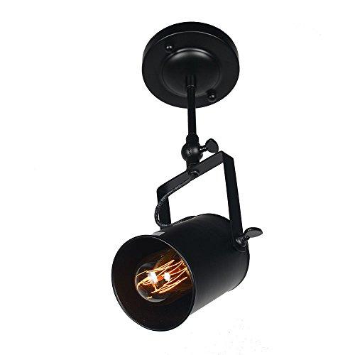Baiwaiz Track Lighting Heads, Metal Industrial Ceiling Track Light Fixture Black Wall Sconce 1-Light Adjustable Edison E26 BW17022