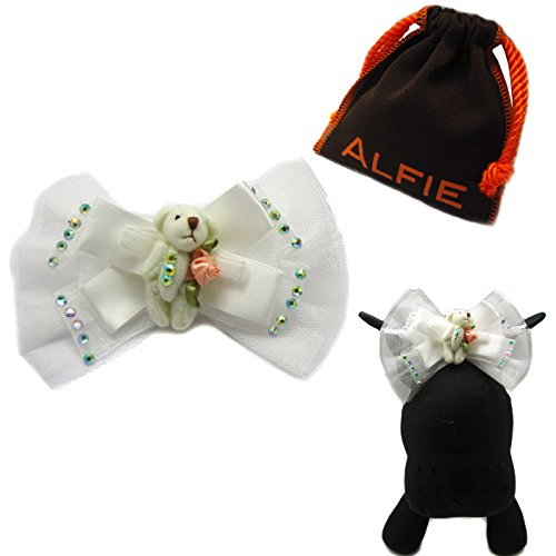 Alfie Pet by Petoga Couture - Vanessa Bear Wedding Bridal Hair Clip for Dogs and Cats with Fabric Storage Bag