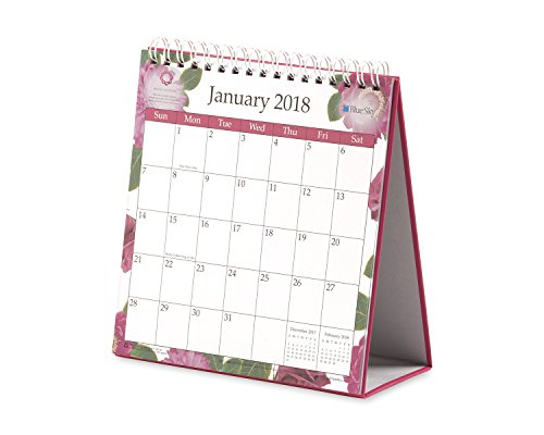 "Blue Sky 2018 Monthly Desk Calendar With Stand, Twin-Wire Binding, 6"" x 6.3"", BCA Garden"