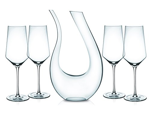 Miko Wine Decanter Set, Hand Blown 100% Lead Free Crystal Clear Wine Decanter Set With 4 Bordeaux Wine Glasses And U-Shape Wine Carafe