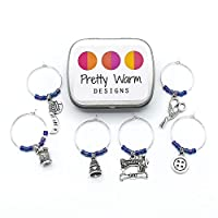 Sewing Themed Wine Glass Charms Set of 6 with Tin