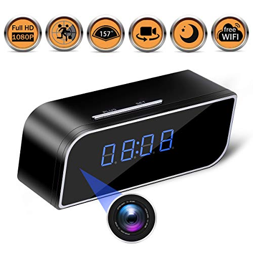 Spy Hidden Camera – Alarm Clock,Baby Monitor HD 1080P Security Surveillance Cameras Nanny Cam with Motion Detection,Video Recording Remote Monitoring with iOS Android App