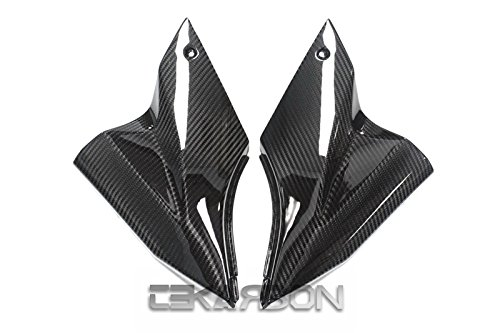 2x2 Twill Weave Kawasaki ZX10R Replacement for Side Tank Panels 2006-2007 Carbon Fiber Tekarbon