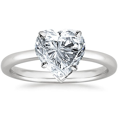 3/8 Carat 14K White Gold Heart Cut Solitaire Diamond Engagement Ring (0.37 Carat H-I Color SI2-I1 Clarity) Heart Shape Natural Diamond Solitaire