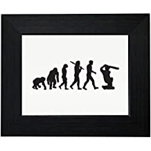 Classic Evolution of Man with Cricket Player Hilarious Framed Print Poster Wall or Desk Mount Options