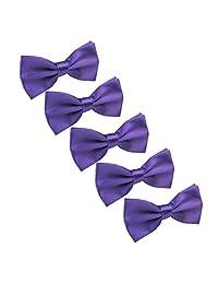 Men Pre tied Adjustable Bowtie - Wedding Party Formal solid color Bow Tie, 5 Pcs