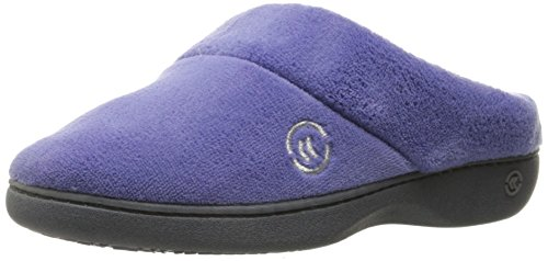 Isotoner Women's Classic Mixed Microterry Hoodback Slippers, Deep Periwinkle, Large/8.5-9 M US
