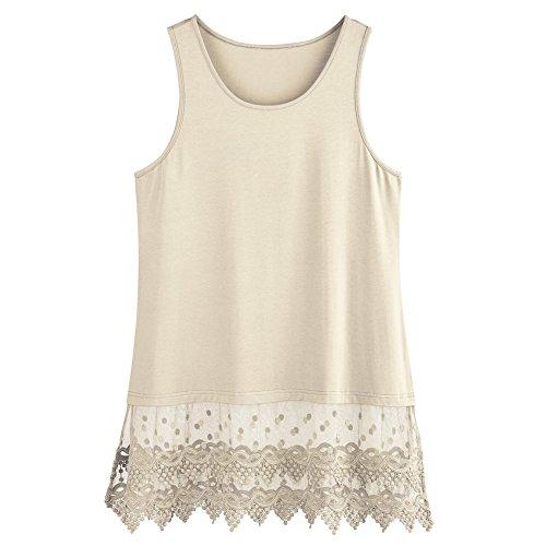 Women's Lace Trim Layering Tunic Tank Top - Extends Shirt Blouse Length - 30