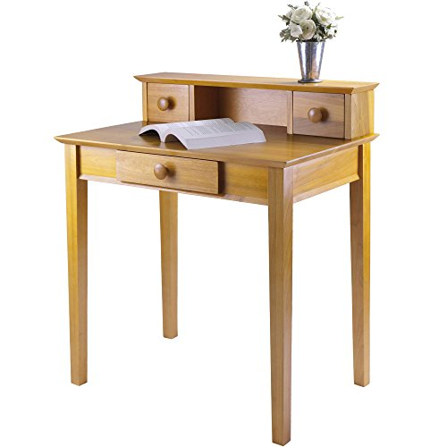 Honey Pine Writing Desk (Traditional Home Office Desk with Hutch, Natural Finish, Features Three Drawers and a Cubby for Stationery or Supplies, Very Durable Sturdy Frame, Designed for Day-to-Day Use + Expert Guide)