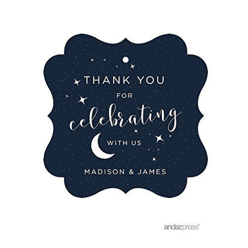 Andaz Press Love You to the Moon and Back Wedding Collection, Personalized Fancy Frame Gift Tags, Thank You for Celebrating With Us, 24-Pack, Custom ()