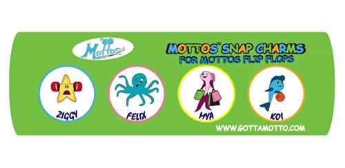 Shoe Charms for Mottos Kids Flip Flops - Custom 4-pack Expressive Sea Creature Sandal Charms - New Innovative Design Lets Kids Snap 'em In and Snap 'em Out Easily By Themselves!