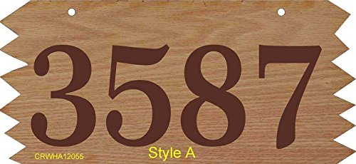 Hanging Wood Address Sign - Two Sided Address Plaque Personalized with Your House Number - Rustic Style Jagged Sawtooth Edges P2335 Style A Double Sided