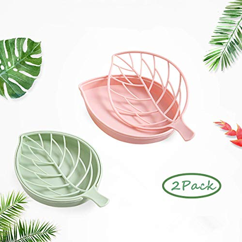forlive 2 Pack Soap Dish, Leaf-Shaped Soap Holder, Plastic Draining Soap Box, Soap Saver, Bathroom Kitchen Counter Soap Case - Easy Cleaning, Dry, Stop Mushy (Green & Pink)