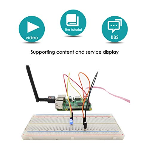 Adeept RFID Starter Kit for Raspberry Pi 3, 2 Model B/B+, Stepper Motor,  ADXL345, 40-pin GPIO Extension Board, Breadboard, with C and Python Code,