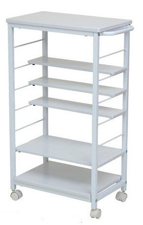 InnoFur Kinisi Wagon Storage Trolley Table/Trolley with Wheels/Counter Workbench 85 cm White