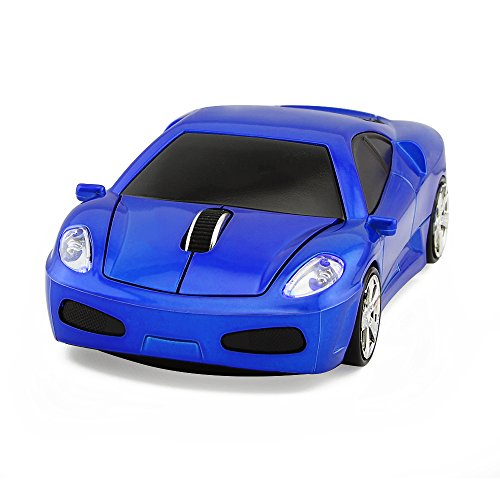 Usbkingdom 2.4GHz Cool Sport Car Shape Wireless Mouse Optical Cordless Mice with USB Receiver for PC Laptop Computer 1600 DPI 3 Buttons Blue