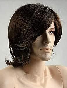 Fashion handsome short curly wigs for men dark brown ZL15-6