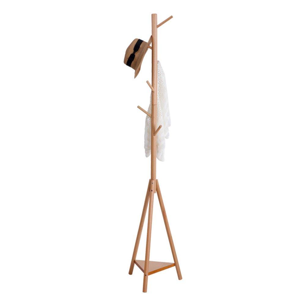 JIANFEI Floor Standing Coat Rack Hat Stand Hanger Tree 7 Hooks Triangular Stable Shelf 3 Legs, Wood ( Color : Redwood color )