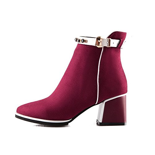 Women's Low Claret Allhqfashion Frosted Zipper Kitten Toe Pointed top Closed Boots Heels anZBx
