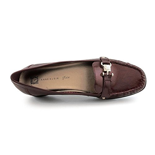 Anne Klein Womens Vergil Square Toe Mocassini Rosso Scuro