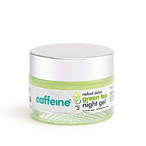 mCaffeine Naked Detox Green Tea Night Gel | Hydration | Vitamin C, Hyaluronic Acid | All Skin Types | Paraben & Mineral…