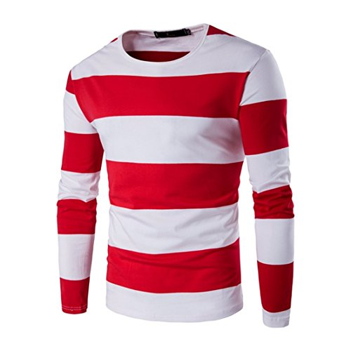 Kool Classic Men's Stripe Crewneck Cotton Casual Long Sleeve T-Shirt Red Tag Size M=US Size XXS