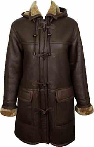 61c817b9b41 Unicorn Womens Sheepskin Duffle Coat Brown with Ginger Fur Leather Jacket  #CD