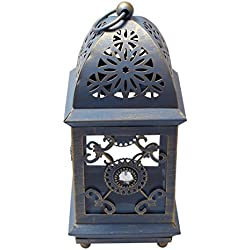 Classic Iron Table-Top Lantern Tealight Votive Candle Holder - Rustic Blue