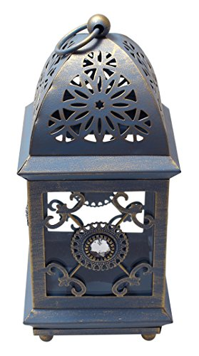 Classic Iron Table-Top Lantern Tealight Votive Candle Holder - Rustic Blue - Hanging Votive Lanterns