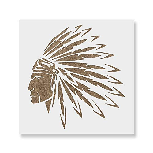 Native American Indian Stencil Template - Reusable Stencil with Multiple Sizes Available