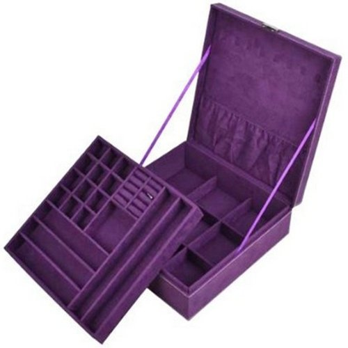 Price comparison product image KLOUD City Purple two-layer lint jewelry box organizer display storage case with lock