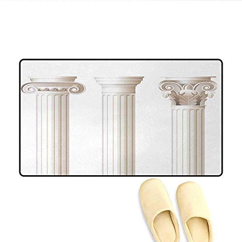 Bath Mat,Architecture Themed Design Ionic Doric and Corinthian Marble Columns Digital Print,Door Mats for Home,Coconut,Size:32