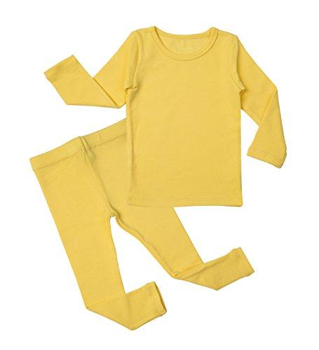 (Baby Boys Girls Pajama Set Kids Toddler Snug fit Cotton Sleepwear (Yellow Medium/2T))