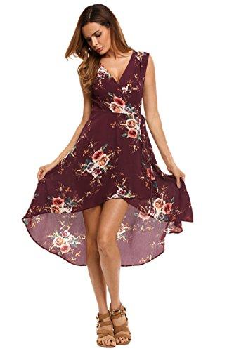 Zeagoo Women Deep-V Hi Low Beach Wear Cover-up Dress Chiffon Floral Swing Dress,Dark Red,L