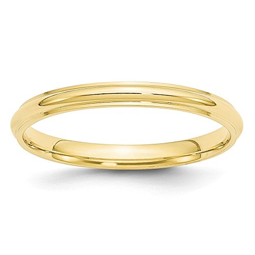 JewelrySuperMart Collection 10k Yellow Gold 2.5mm Half Round Plain Classic Comfort-fit Wedding Band with Beveled Edge - Size 13
