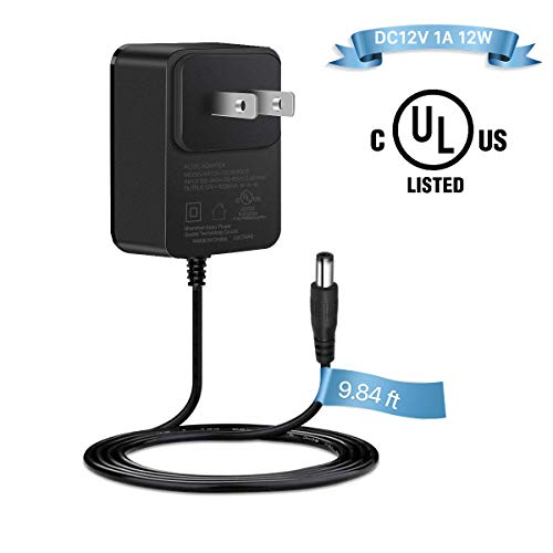 DC12V 1A Power Supply Adapter, UL-Listed 9.8 ft AC100-240V Input to DC 12V 1000mA Output Transformer Charger AC/DC Power Cord Wall Plug for CCTV IP Camera Home Security System Router 5.5x2.1mm 12W Max